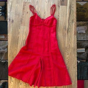Red linen summer dress.